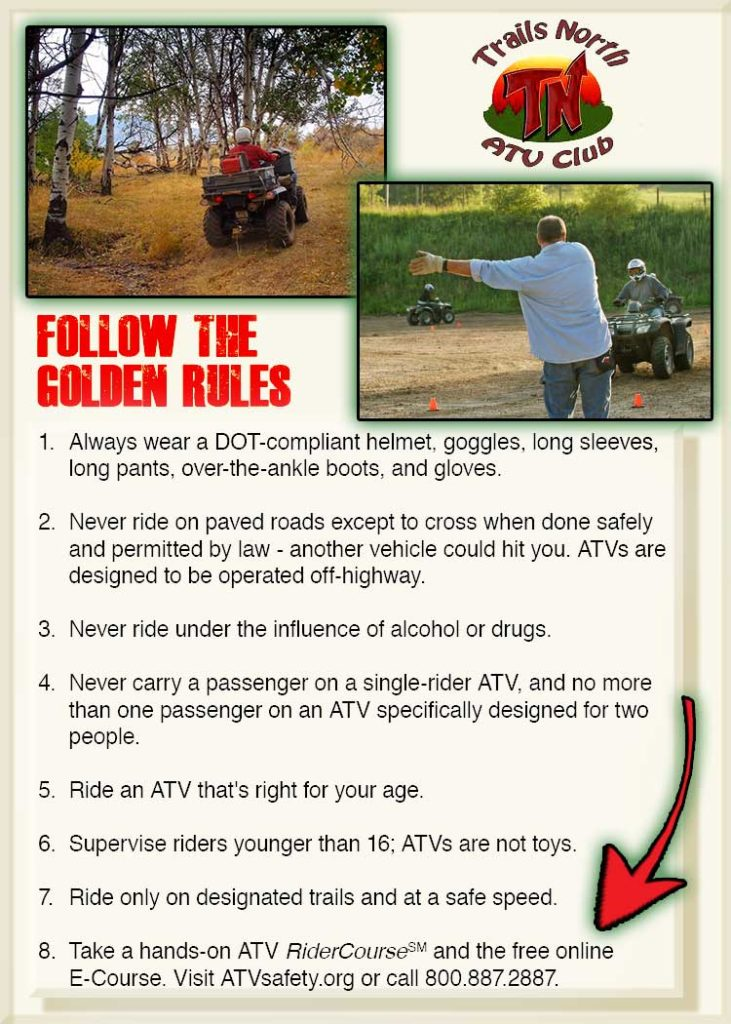 Trails North ATV Golden Rules